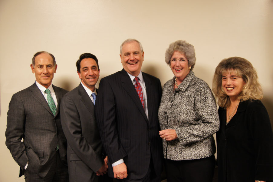 Bob Cullen with Larry Sonsini, Chairman of Wilson Sonsini Goodrich & Rosati, Jeffrey  Rosen, Santa Clara County District Attorney, Hon. Carol Corrigan, Associate Justice, California   Supreme Court, Hon. Patricia Bamattre-Manoukian, Associate Justice, 6th District Appellate   Court